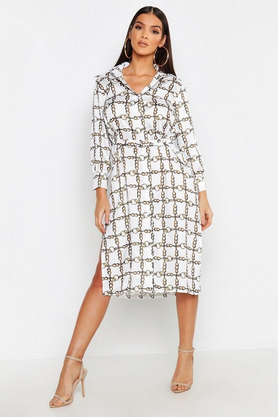 Satin Chain Metal Belted Midi Shirt Dress
