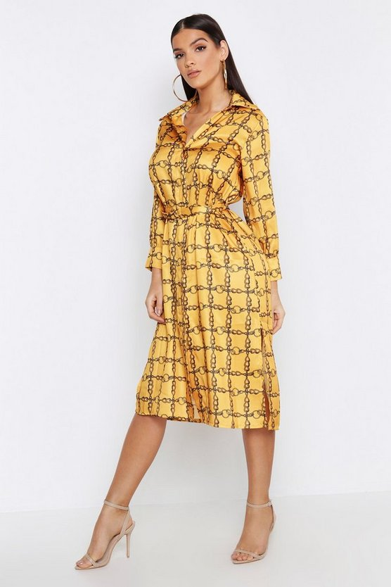 Womens Mustard Satin Chain Metal Belted Midi Shirt Dress