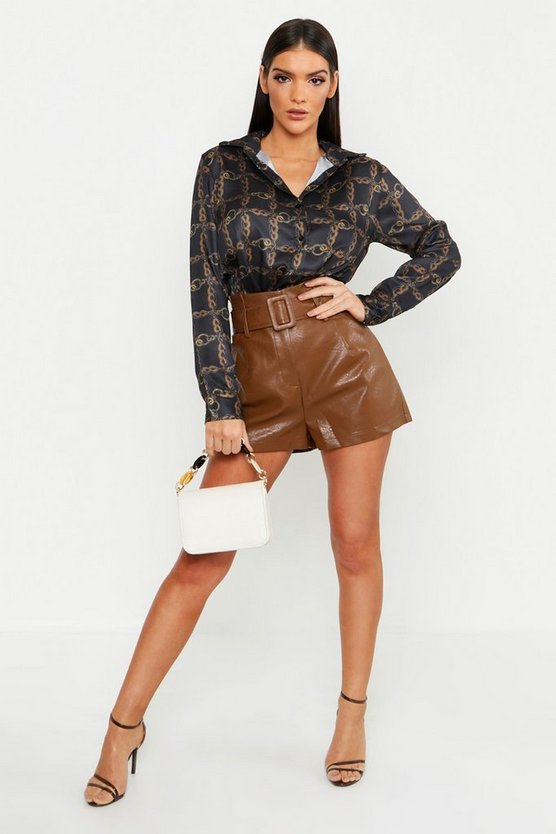 Satin Chain Print Oversized Button Through Shirt