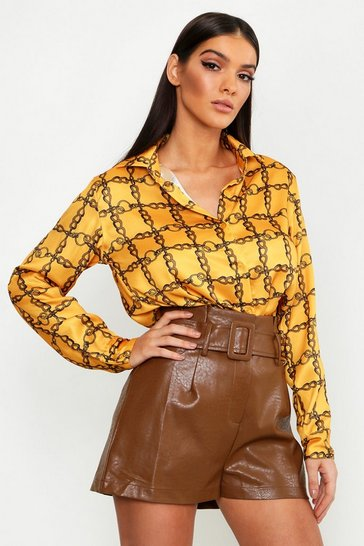 Womens Mustard Satin Chain Print Oversized Button Through Shirt
