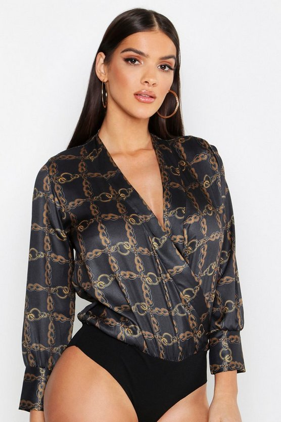 Satin Wrap Front Chain Print Bodysuit