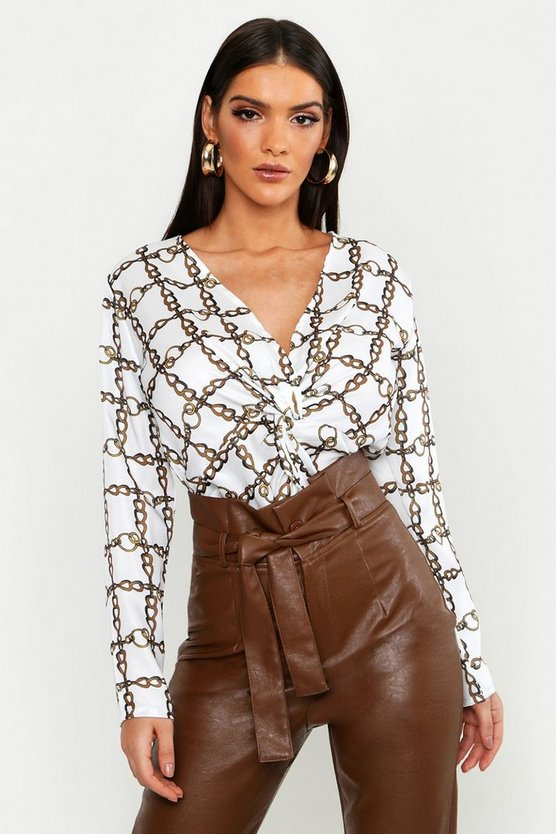 Satin Chain Print Knot Front Blouse