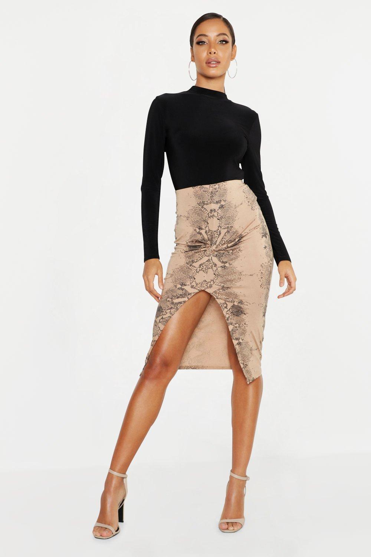 Snake Print Twist Front Midi Skirt