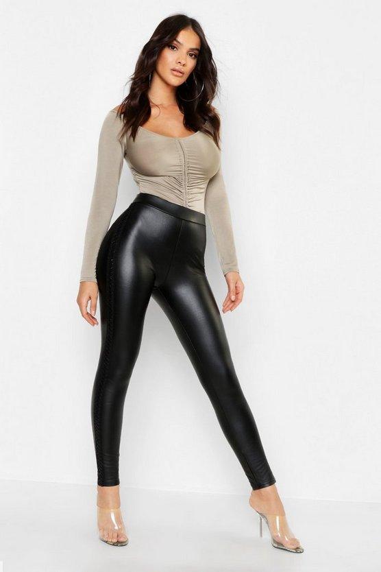 Pu Leather Look Lattice Side Tregging by Boohoo