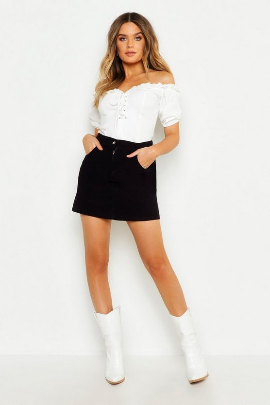 Womens Black Cord Mini Skirt