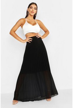 Womens Black Pleated Chiffon Maxi Skirt