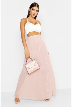 Womens Mauve Pleated Chiffon Maxi Skirt