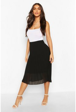 Womens Black Pleated Chiffon Midi Skirt