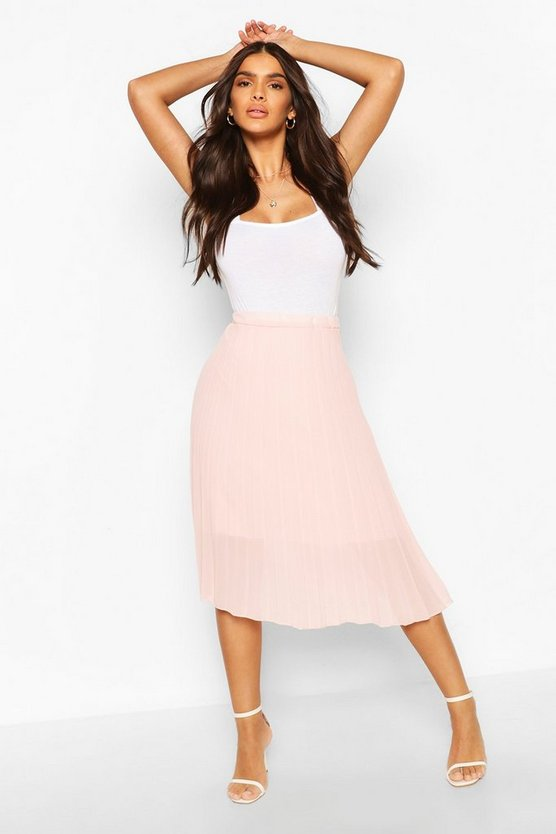 Womens Blush Pleated Chiffon Midi Skirt
