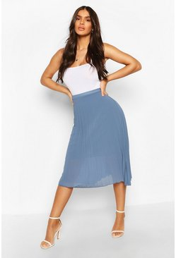 Womens Vintage blue Pleated Chiffon Midi Skirt