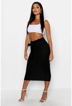 Black Knitted Ribbed Tie Waist Midaxi Skirt