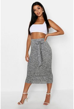 Womens Grey marl Knitted Rib Tie Waist Midaxi Skirt