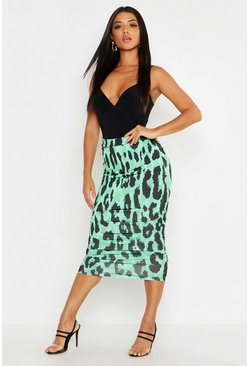 Womens Green Rouched Side Leopard Print Midi Skirt