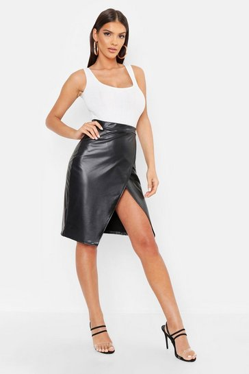 Womens Black Leather Look Wrap Midi Skirt