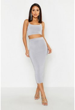 Womens Grey Double Layer Slinky Midaxi Skirt