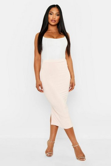 Womens Nude Double Layer Slinky Midaxi Skirt