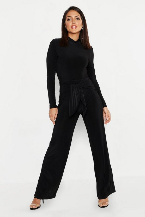 Womens Black Tie Knot Slinky Wide Leg Trousers