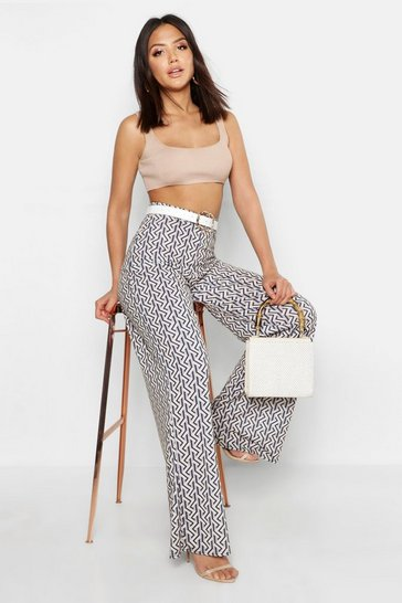Womens Stone Geo Print Wide Leg Trousers