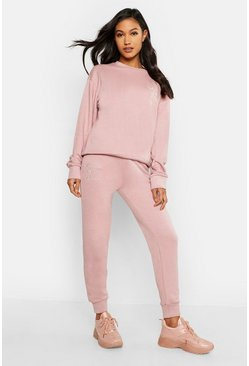 Womens Blush Mother Of The Bride Embroidered Jogger