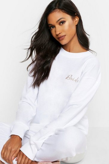 Womens White Bride Embroidered Sweater