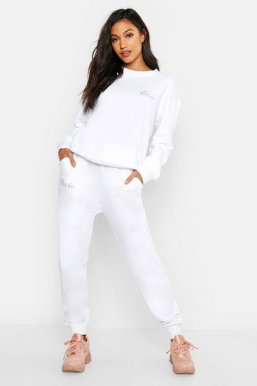 Womens White Bride Embroidered Jogger