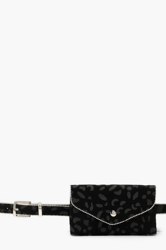 Womens Black Leopard Faux Pony Hair Belt Bag