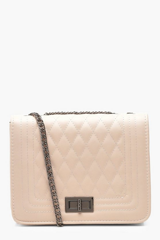 Womens Taupe PU Quilted Cross Body Bag