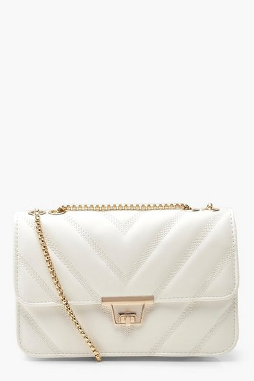 Womens White PU Chevron Cross Body Bag