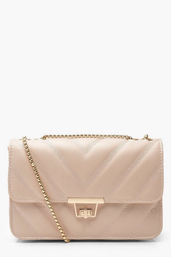 Womens Taupe PU Chevron Cross Body