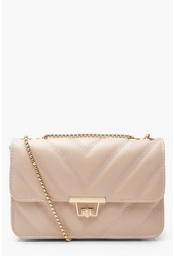 Womens Taupe PU Chevron Cross Body Bag