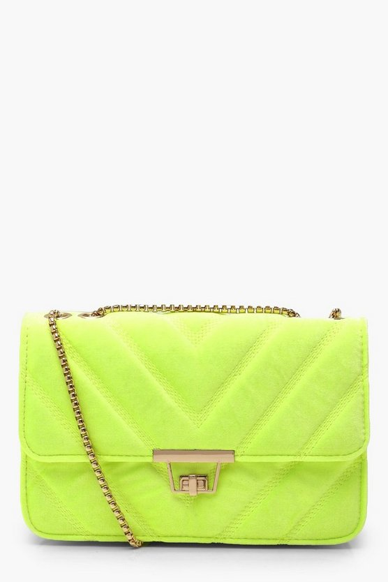 Womens Lime Velvet Chevron Cross Body Bag