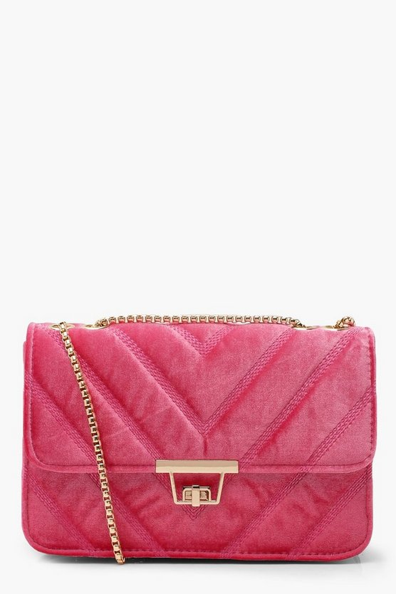 Pink Velvet Chevron Cross Body Bag