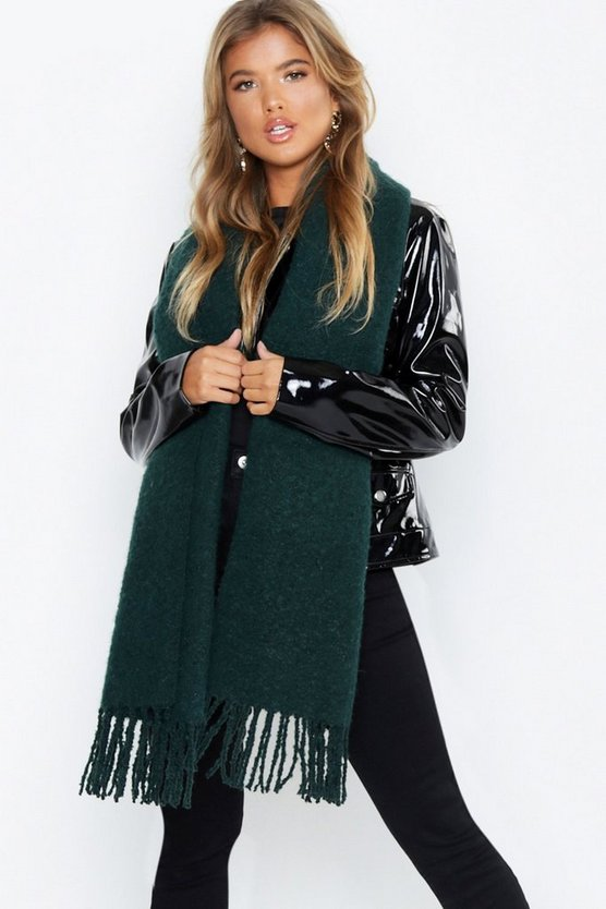 Womens Green Chunky Two Tone Tassel Scarf