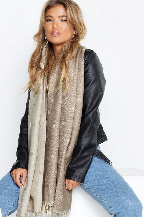 Womens Beige Chunky Reversible Star Scarf