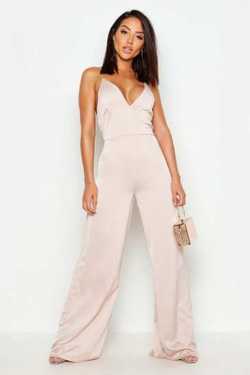 Womens Nude Waffle Satin Plunge Jumpsuit