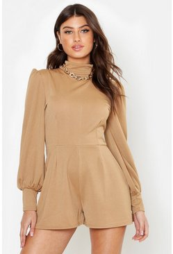 Womens Camel High Neck Ruched Sleeve Playsuit