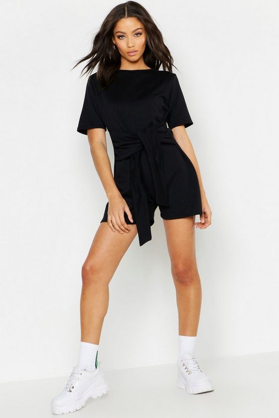 Womens Sweat Tie Front Playsuit