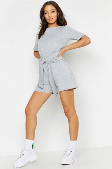 Womens Grey marl Lounge Sweat Tie Front Playsuit