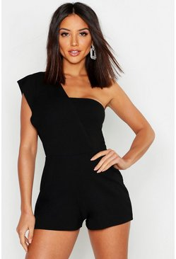 Womens Black One Shoulder Playsuit