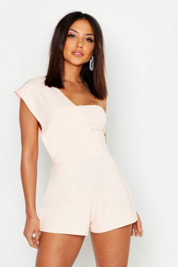 Womens Blush One Shoulder Playsuit