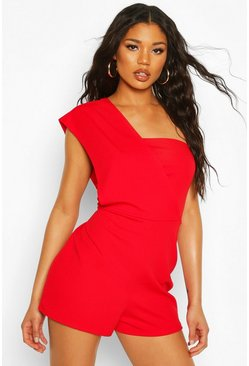 Red One Shoulder Romper