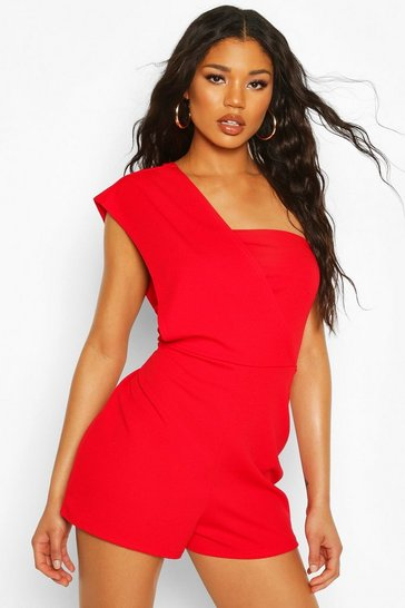 Red One Shoulder Playsuit