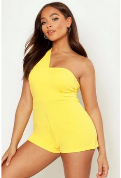 Yellow One Shoulder Playsuit