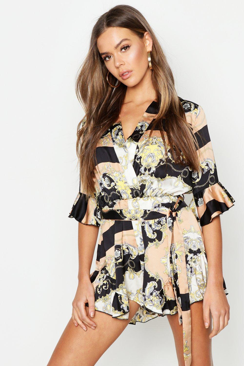 Chain Print Wrap Front Playsuit