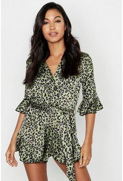 Womens Green Leopard Wrap Front Playsuit