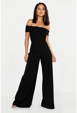 Black Bardot Wide Leg Jumpsuit