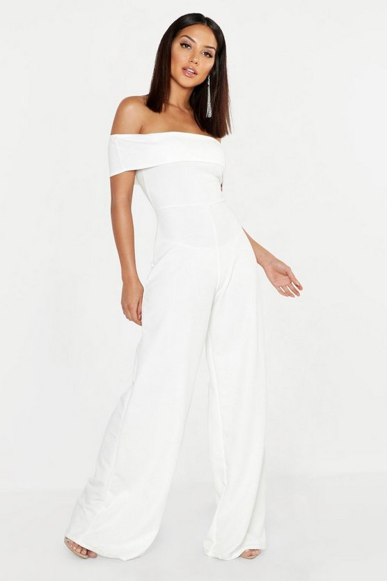 Womens Ivory Bardot Wide Leg Jumpsuit