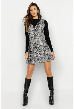 Womens Grey Snake Print Faux Leather Belted Dress