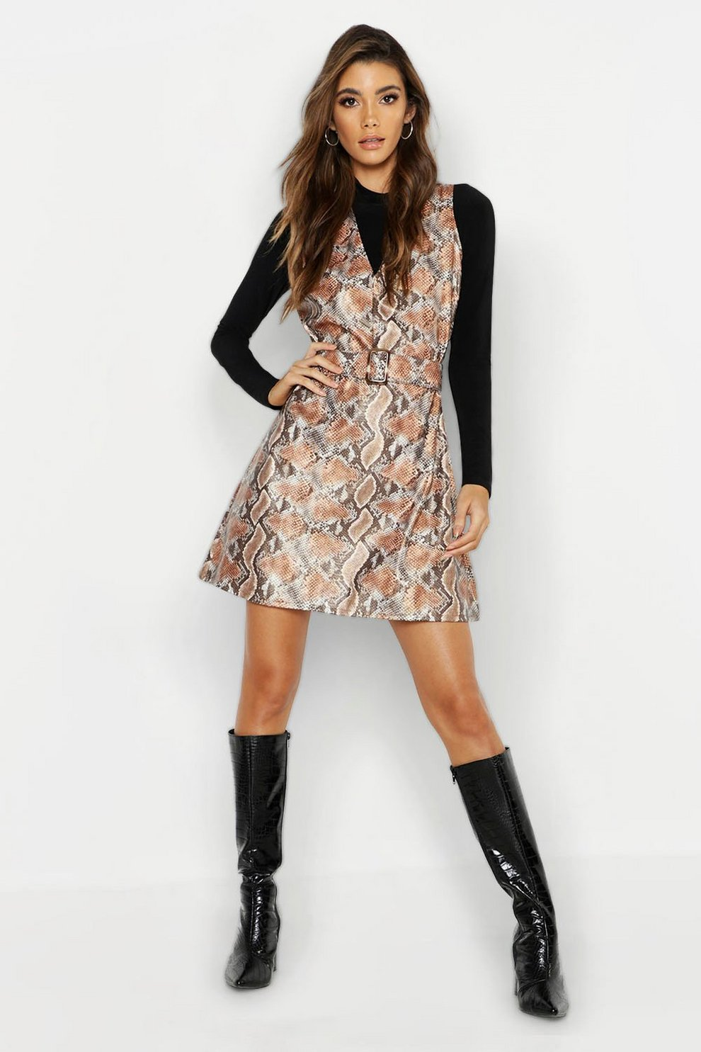 8028c36a64 Snake Print Faux Leather Belted Dress