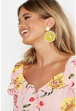 Womens Yellow Lemon Resin Earrings